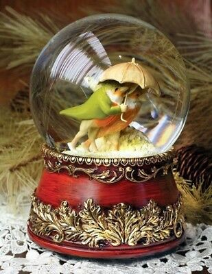 Victorian Trading Co Castell Bros Lovebirds in Snowstorm Christmas Snow Globe