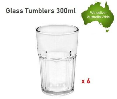 10 x 250ml Glass Tumblers Water Cup Drink Cups Drinking Tumbler Glasses Party