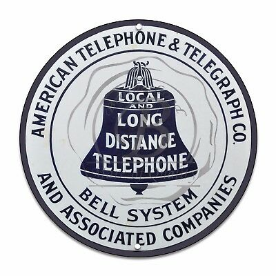 "American Telephone Telegraph Bell System Reproduction 12"" Circle Aluminum Sign"