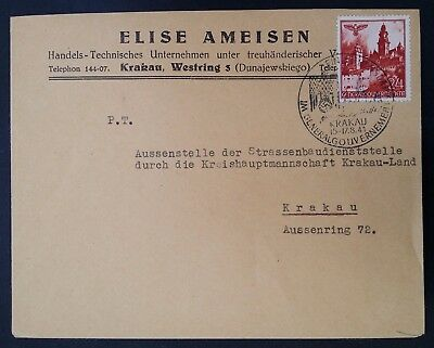 SCARCE 1941 Poland (General Govt) Cover with 1st Anniv German Occupation cache