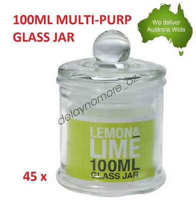 45 x 100ml Multi Purpose Jars Clear Glass w/Airtight Lid Lolly Wedding Herb New