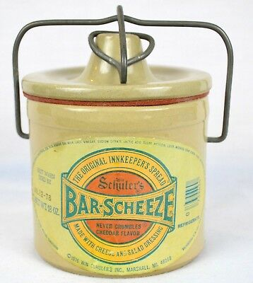 "Vintage Schulers Bar Scheeze Canister Crock July 22 1978 Lid Rubber Seal 5"" Tall"