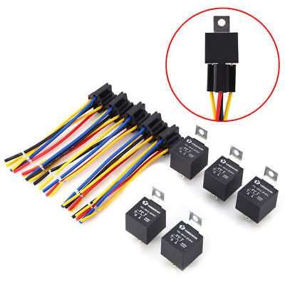 New 5Pcs12V Car SPDT Automotive Relay 5 Pin 5 Wires w/Harness Socket 30/40 Amp