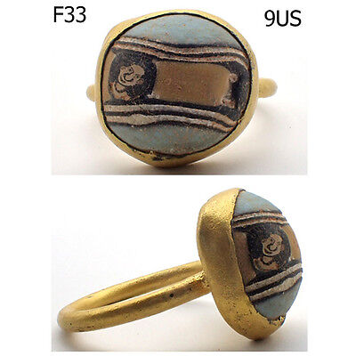 Phoenician Rare Old Mosaic Glass Face Gold Plated Ring 9 US #F33