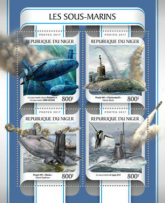 Niger 2017 MNH Submarines SMX OCEAN 4v M/S Whales Boats Ships Stamps