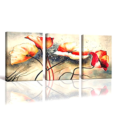 3 Panel Framed Flower Canvas Wall Art Home Decor Modern Oil Painting Hand Paint