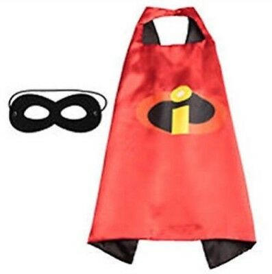 THE INCREDIBLES Cape & Mask. Superhero Costume Party Set.
