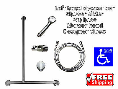 DISABLED SHOWER KIT LH GRAB BAR BATHROOM HAND HELD SLIDER 2m HOSE RAIL AS1428.1