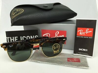 NEW Ray Ban RB 3016 Clubmaster W0366 Tortoise Frame G-15 Green Lens 51mm