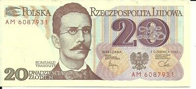 Poland 20 Zlotych Bank Note 1982 P-149