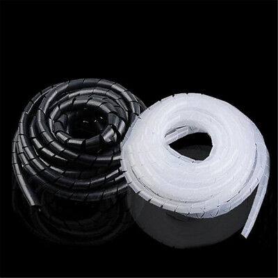 2M Spiral Cable Wrap Tidy Hide Binding Wire Management PC TV Home Office 6mm