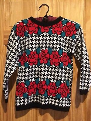 90s 80s ugly Kawaii Sweater roses checker Jet Set Sweaters Girls Large Vintage
