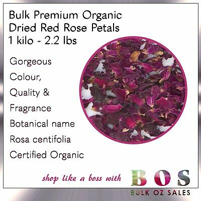 Bos| Certified Organic Red Rose Petals 1 Kilo 2.2 Lbs Dried Rosa Centifolia 1 Kg