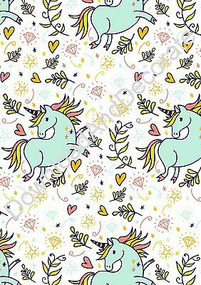 Fantasy Prancing Unicorn Pattern Gift Wrap/Wrapping Paper - A4 Download & Print