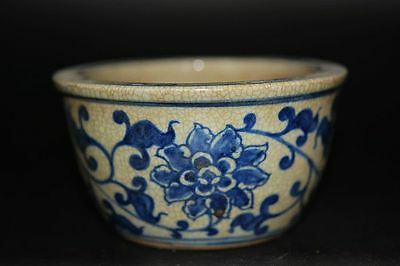 Chinese Ming Dy Blue&white Porcelain Hand-painted *flower* brush washer