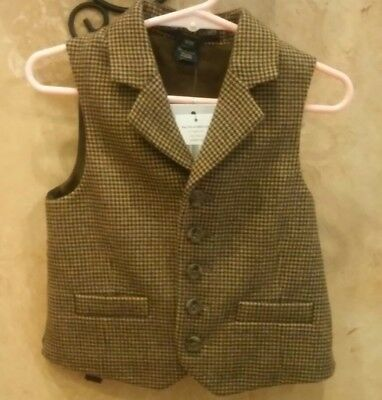NWT $175, POLO by RALPH LAUREN Toddler Boys Brown Herringbone Dress Vest 3/3T