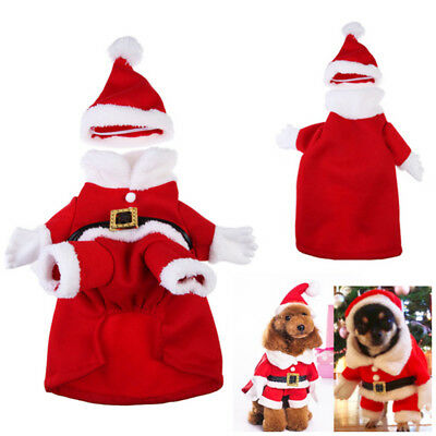 Pet Dog Cat Christmas Costume Warm Suit Santa Cosplay Clothes Xmas Gift Red AU