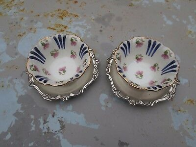 Pair China and Silver Plated Salts Crescent and Sons early C20th