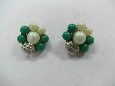 Vintage White And Green Beads with Clear Stones Snap on Earrings
