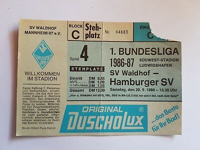 Ticket SV Waldhof- Hamburger SV 86/87