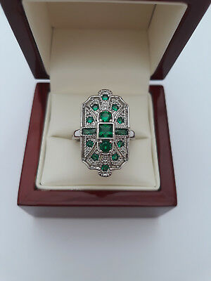 Art Deco style Emerald Green Cocktail Ring Size S and a half