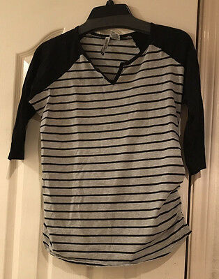 Belly by Design Maternity Top Raglan Sleeve Black and Gray Stripe Women's Size M