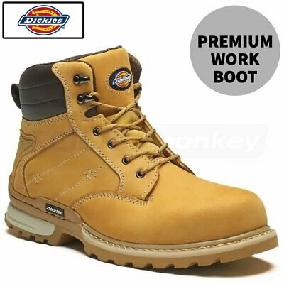 Dickies Canton Leather Safety Work Boots - Steal Toe - Breathable Mesh Lining