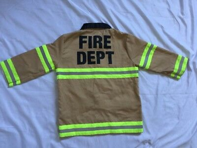 Kids Fire Dept Costume Long Sleeve Ages 3 To 6 Halloween