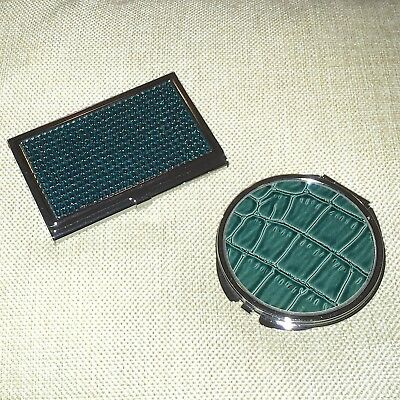 2 Piece Matching Set Teal Rhinestone Business Card Holder & Dual Sided Mirror