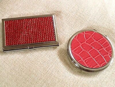 New 2 Piece Matching Set Red Rhinestone Business Card Holder & Dual Sided Mirror
