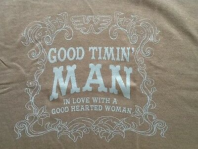 "Vintage Waylon ""Good Timin' Man"" T-shirt size L Brown w/blue lettering"