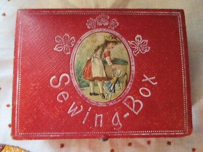 Antique  Victorian child's sewing box kit antique strawberry pin cushion