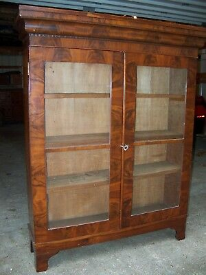 Antique Bookcase rare flame mahogany federial style 1840-1860