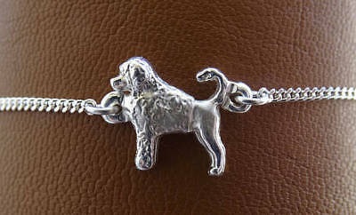 Sterling Silver Portuguese Water Dog Standing Study Anklet