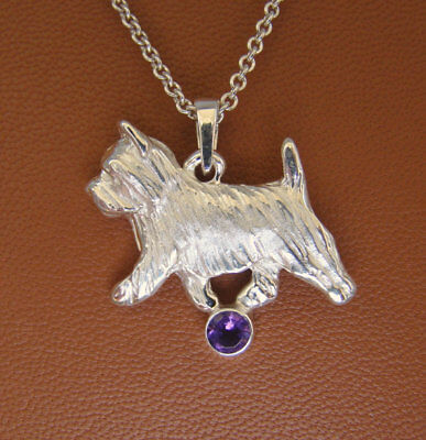 Small Sterling Silver Norwich Terrier Moving Study With a 4MM Amethyst Accent
