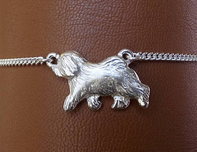 Large Sterling Silver Old English Sheepdog Moving Study Anklet