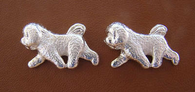 LARGE Sterling Silver Bichon Frise Moving Study Cuff Links