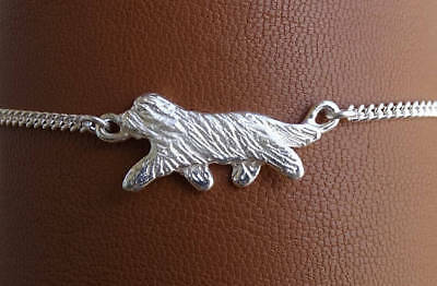 Large Sterling Silver Bearded Collie Moving Study Anklet