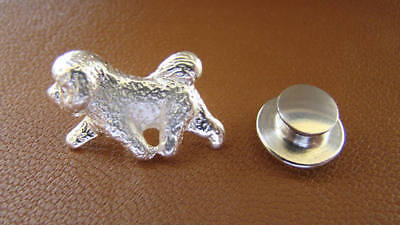 Small Sterling Silver Bichon Frise Moving Study Lapel Pin