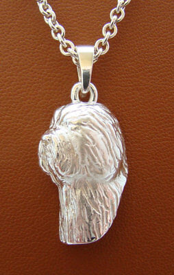 Sterling Silver Old English Sheepdog Head Study Pendant