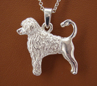 Large Sterling Silver Portuguese Water Dog Standing Study Pendant