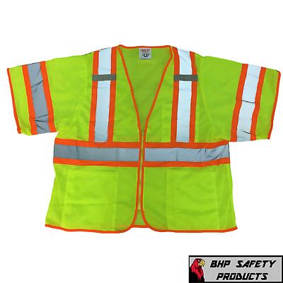 Tingley Class 3 Mesh Hi-Vis Two-Tone Traffic Safety Vest W/ Zipper Double Sized