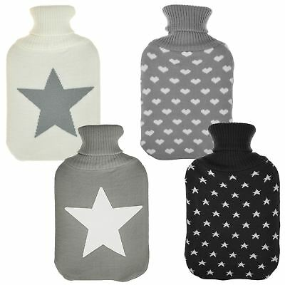 Luxury Home Hot Water Bottle & Knitted Cover Gift Set Warm Cosy Winter Accessory