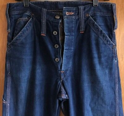 Vintage 1930s Buckle Back Denim Trousers Partridge Jeans Indigo RARE 31 X 33