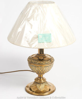 Antique Brass Oil Lamp Converted to TABLE LAMP Off White Shade Vintage Cream