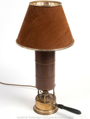 Antique Brass TABLE LAMP Middle Eastern Kerosene Lamp Copper Billy Can Converted