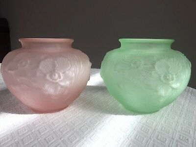 Pair of TIFFIN POPPY design satin GREEN and PINK vases