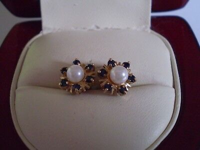 A Beautiful Pair Of 9.ct Gold With Real Pearl And Blue Sapphire Ladies  Earrings