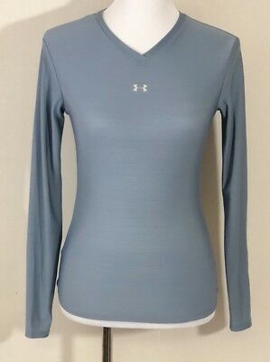 Under Armour Womens Long Sleeve Compression Shirt Size Medium Light Blue Fitted