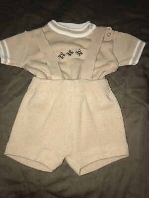 Cloud Soft Baby Boy Tan Knit Shorts Shirt Set 9 MonthsVintage 50s 60s